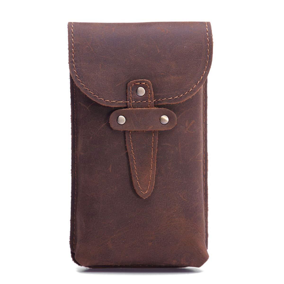 Vintage Retro Men's Genuie Cowhide Soldering Leather Bag 2021 Waist Bum Hip Bel