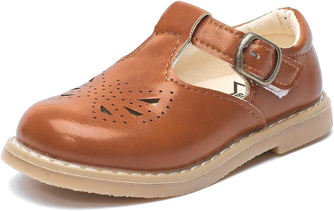 BEBARFER Girl's Mary Jane T-Strap School Uniform Dress Shoes Non-Slip Oxford Flat Dress Shoes