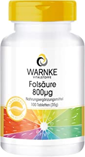 Ácido fólico 800µg – 100% vegano – Vitamina B9 – 100 comprimidos