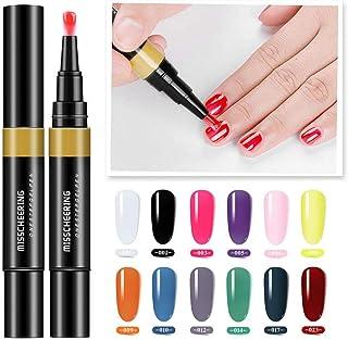 Gel Nail Polish Pen, Womdee 3 in 1 Soak Off UV LED Nail Varnish Nail Art, No Base Top Coat Need, One-Step Non-Toxic and Fast Drying Nail Polish, Easy To Use Manicure Nail Art Pen