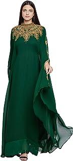 Women Dubai Kaftan Farasha Caftan Long Maxi Dress Long Sleeves Evening Dress with Free Scarf