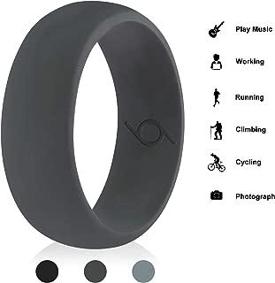 CalMyotis Silicone Wedding Ring for Men, Silicone Rubber Bands – Step Edge Sleek Design - Black, Dark Grey, LuxuryGrey