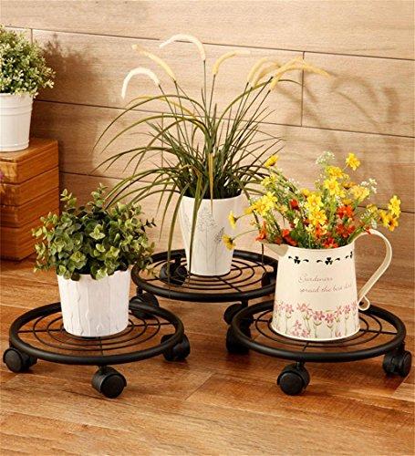 Épaissi ronde mobile en bois fleur pot étagère Flower Stand Flower Frame avec roue universelle (un paquet de trois)