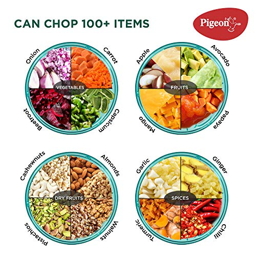 Pigeon Polypropylene Mini Handy and Compact Chopper with 3 Blades for Effortlessly Chopping Vegetables and Fruits for Your Kitchen (12420, Green,... 6