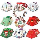 XCOZU 24 Cajas de Navidad, Cajas de Navidad para Decoración de Fiestas de Niños, Cajas de Regalo, Cajas de Regalo para Mesa de Navidad, Cajas Pequeñas para Dulces, Caramelos, Chocolates, Galletas