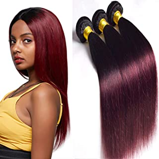 DAIMER Brazilian Straight Hair 3 Bundles 14 16 18 Inch Remy Real Human Hair Extension Black To Wine Red Ombre Two Tone Virgin Hair Weave Wefts 1b/99j