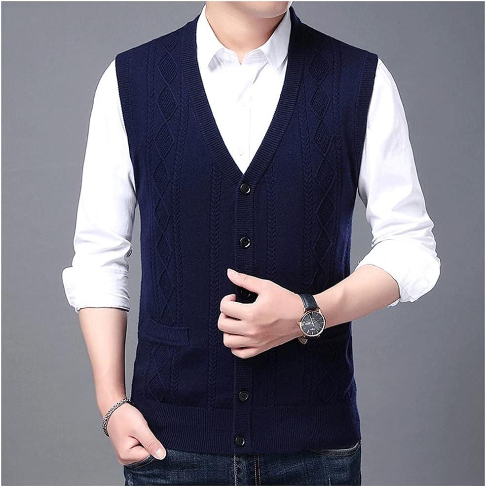ZYKBB Autum Winter Sweater Vest Korean Cable Knit Men Woolen Casual Mens Clothing (Color : Blue, Size : L code)