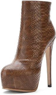 Enkellaarzen Dames, Dames Plateauzolen Met Steenpatroon, Puntige Stiletto Damesschoenen Met Hoge Hakken,Light brown,39