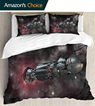PRUNUSHOME 3 Piece Polyester Set Spaceship in Interstellar Travel Galactic Starfield Alien ntasy Science Fiction Soft Silky Twin