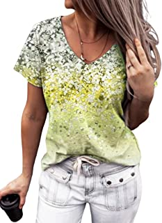 XWLY Women Short Sleeve Tops Fashion Comfortable Summer V Neck Women Blouse Exquisite Wave Point Tie Dye Print Design Dail...
