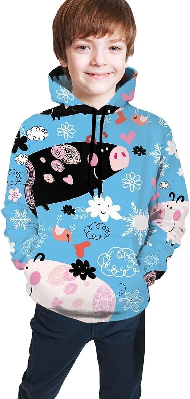 AMNIVASD Soldering Cute Pink Kawaii Cartoon Pig [Alternative dealer] Pockets Kid with Sw Hoodie