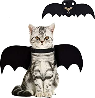 Cat Bat Costume,Halloween Cat Bat Wings for Pets,Cat Halloween Collar Pet Apparel for Small Dogs and Cats,Comfort Material...