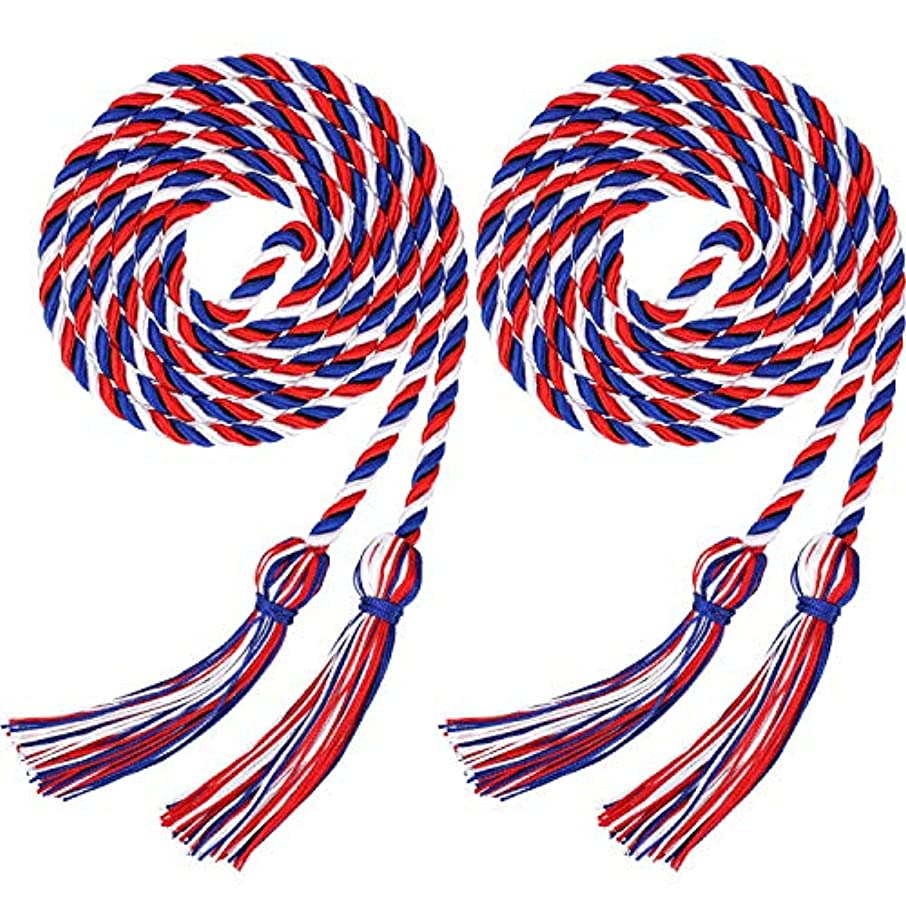 2 Pieces Graduation Cords Polyester Yarn Honor Cord with Tassel for Graduation Students (Blue Red with White)
