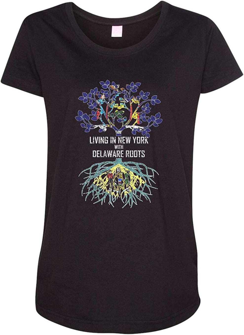 HARD EDGE DESIGN Women's Living in New York with Delaware Roots T-Shirt