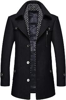 iCKER Men's Wool Coat Short Trench Coat Pea Coat Casual Winter Business Slim Fit Jacket