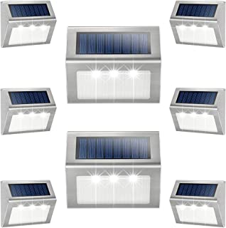 Solar Deck Lights, KASUN Super Bright LED Walkway Light Stainless Steel Waterproof Outdoor Security Lamps for Patio Stairs Garden Pathway - White Light, Pack of 8