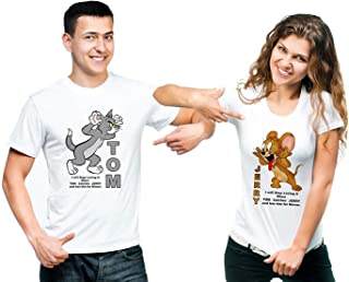 SHRENIM Men's & Women's Slim Fit T-Shirt (Pack of 2) (SFPW001.05_White_Large, Medium )