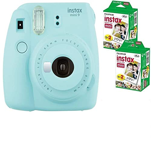 Allcam Bundle: Fuji Instax Mini 9 Ice Blue Instant Film Camera + 40 Shots (Take instant credit card size photos. Capture the moment and share the fun).