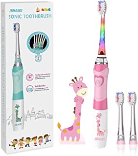 Seago SGEK6 Elektrische tandenborstel voor kinderen, voor 3-12 jaar, met intelligente timer en led-verlichting in kleur en...