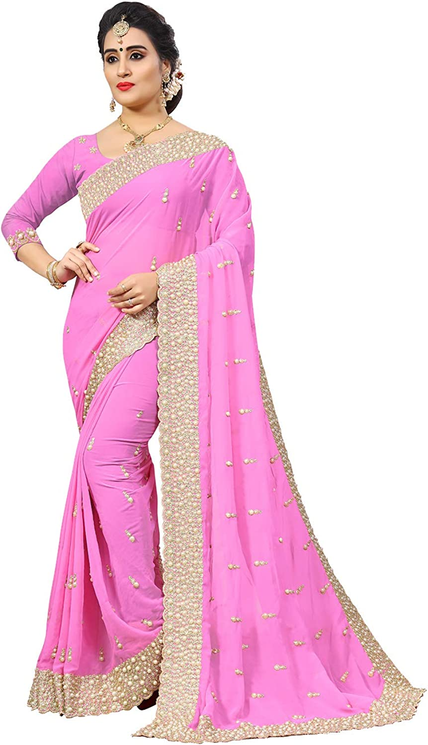 Da Facioun Indian Sarees for Women Designer Party Wear Traditional Pink Sari.