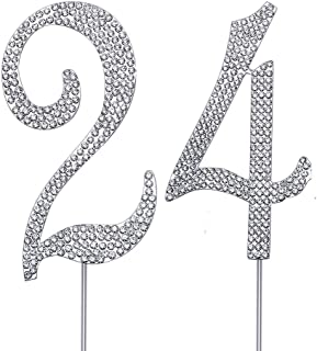 """MAGJUCHE Silver 24"""" Crystal Cake Topper, Number 24 Rhinestones 24th Birthday Cake Topper, Men or Women Birthday or 24th An..."""