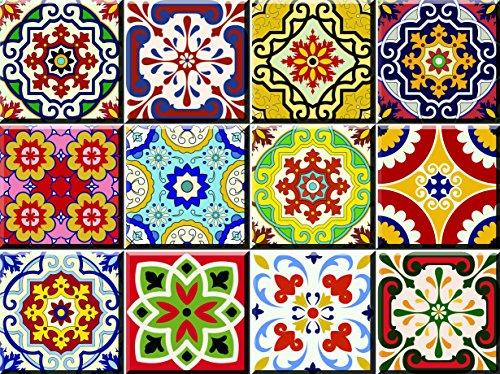 Juego de 24 adhesivos para azulejos de cocina y baño, de la marca Backsplash, fáciles de aplicar, solo hay que despegar y pegar la decoración del hogar de 10 x 10 cm (adhesivos de cocina C55)