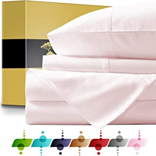 Urban Hut Egyptian Cotton Sheets Set (4 Piece) 1000 Thread Count - Bedspread Deep Pocket Premium Bedding Set, Luxury Bed Sheets for Hotel Collection Soft Sateen Weave (King, Blush)