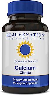 Rejuvenation Therapeutics Calcium Citrate Dietary Supplement, Bone Health Capsules for Osteoporosis (90 Vegan Capsules)
