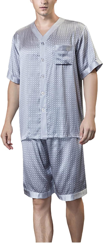 LZJDS Men's Mulberry Silk Pajamas Summer Thin Short-Sleeved Shorts Two-Piece Silk Home Service Pjs Set Sleepwear,Gray,XXL