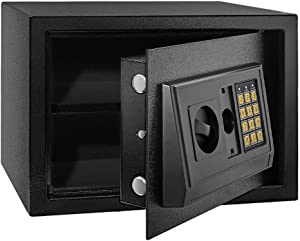 MSRUIOO Security Safe Box,Home Safe Lock Box,Cabinet Safes with Keypad,Steel Safe Box for Home & Office Protect Cash,Money,Jewelry,Passports,Gun