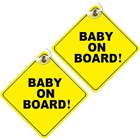 Jieguang Baby On Board Schild 2 Stück Abnehmbare Kinder Sicherheits Warnung Mit Saugnäpfen Auto