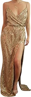 Women Sexy Sequins Lace Evening Dress V-Neck Formal Gowns with High Split