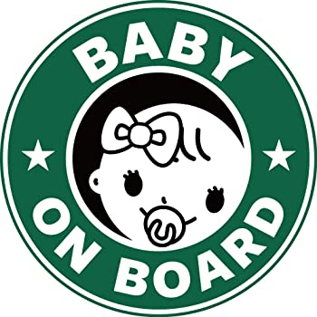 Exproud製 BABY ON BOARD 赤ちゃんが乗っています ステッカー シール 直径15cm Lサイズ 女の子用 あおり運転対策L