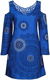 Realdo Plus Size Dress, Women Solid Print Loose Long Sleeves Hollow Out Strapless Mini Dress