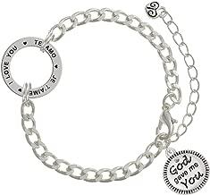 God Gave Me You I Love You in 3 Languages Affirmation Link Bracelet