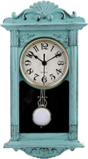 "jomparis 16"" Pendulum Wall Clock Retro Quartz Decorative Battery Operated Wall Clock for Home Kitchen Living Room (Seafoam..."