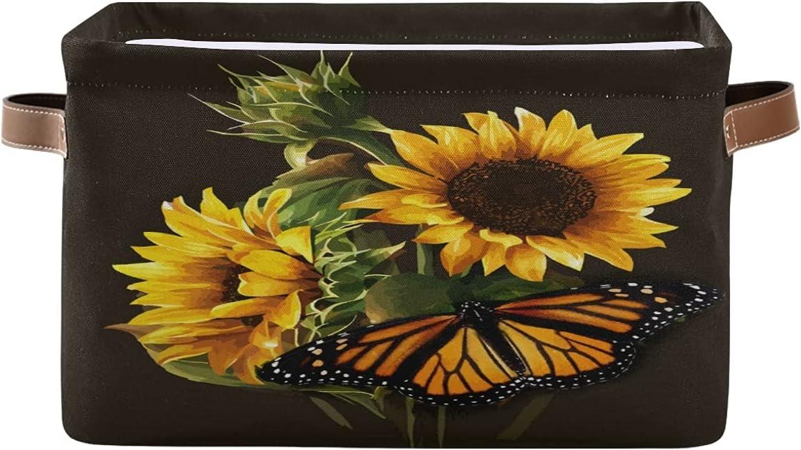 AUUXVA Kansas City Mall KUWT Flower Sunflower Butterfly Fashionable Basket Summ Bins Storage