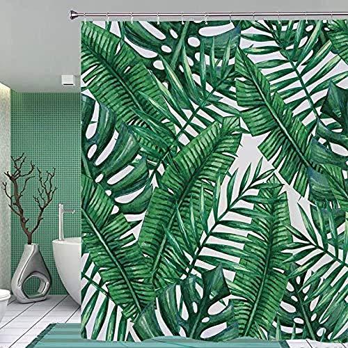 YUJEJ801 tropische palmboom douchegordijn vormvast, waterafstotend, meeldauw, vrij polyester, badkamer douchegordijnen, 180 x 180 cm, machinewasbaar