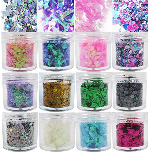 Colored Chunky Glitter Flakes Resin Accessories Holographic Hexagon Iridescent Sparkles Glitter Sequins Crafts Paints Arts Festival Makeup Body Acrylic Nail Decorations 120g