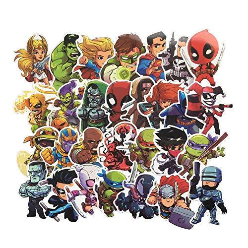 Marvel Superhero Stickers Waterproof Suitcase Stickers Travel Trolley Suitcase Stickers Luggage Cartoon 50pcs