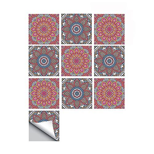 azulejos adhesivos cocina,10 piezas de pegatinas de suelo engrosadas autoadhesivas, pegatinas de pared impermeables y antideslizantes con patrón de mandala pegatinas de azulejos