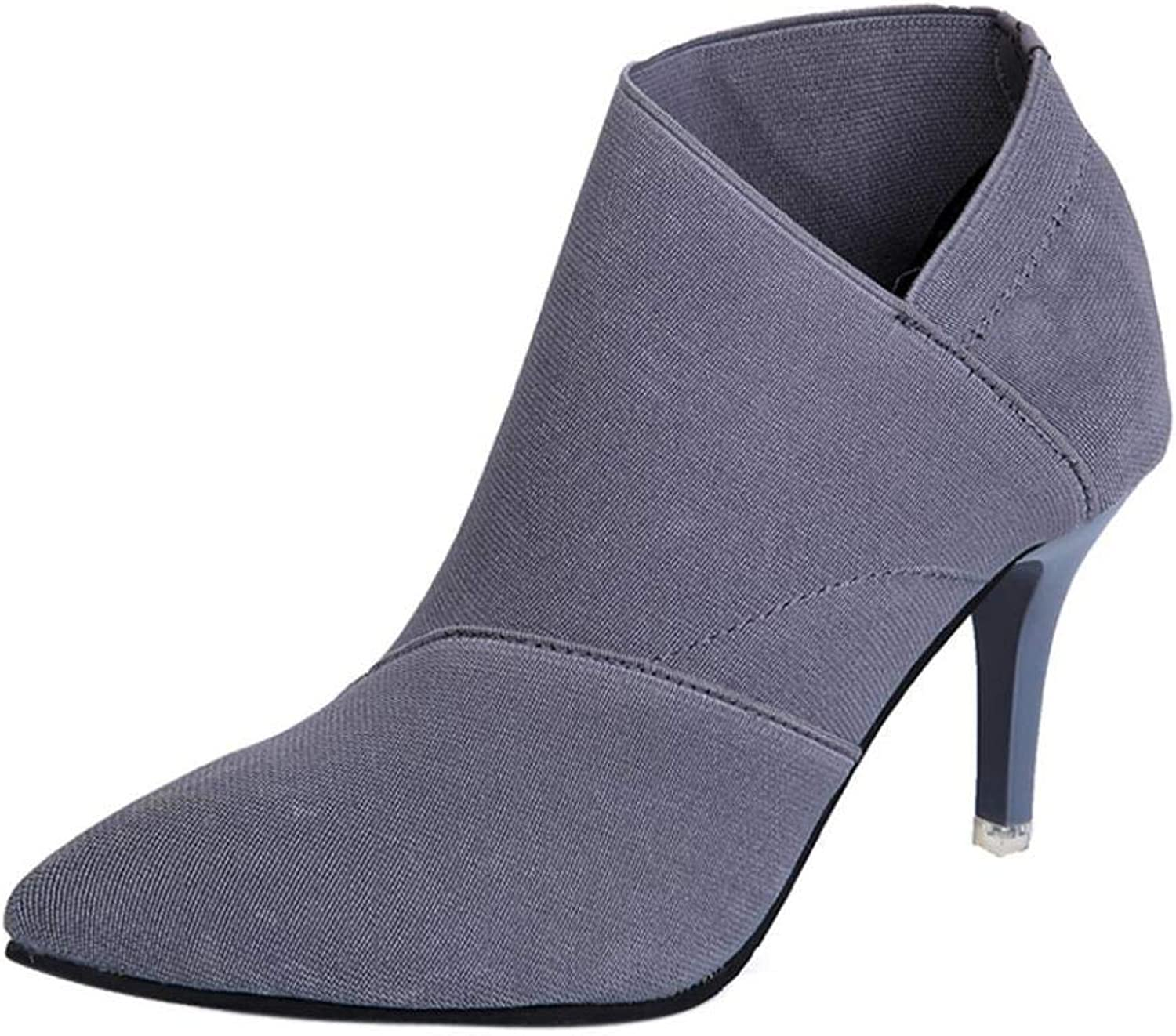 F1rst Rate Women's Autumn Pointed Toe Zip up Stiletto High Heels Dress Ankle Booties