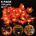 6 Pack Maple Leaves Lights Thanksgiving Decor Fall Garland String Lights - 60 Ft 120 LED and 120 Maple Leaves Waterproof for Indoor Outdoor Party Home Fireplace Halloween Christmas Decor