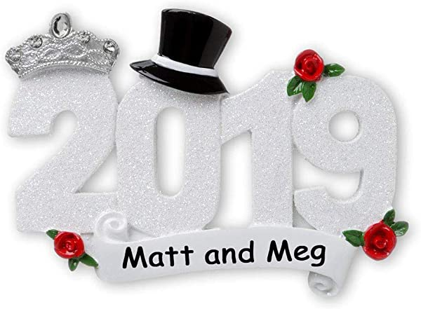 Personalized 2019 Glittered Just Married First Christmas Wedding Couple Dated Keepsake Ornament With Groom Top Hat And Bride Tiara Christmas Tree Ornament Gift Custom Name Of Couple
