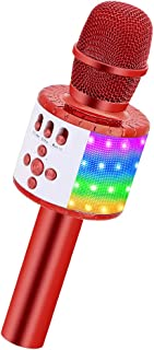 BONAOK Wireless Bluetooth Karaoke Microphone with Controllable LED Lights, Portable Handheld Karaoke Speaker Machine Christmas Birthday Home Party for Android/iPhone/PC or All Smartphone(Q78red)