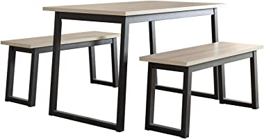 Signature Design by Ashley Waylowe Dining Room Table and Benches (Set of 3), Two-tone
