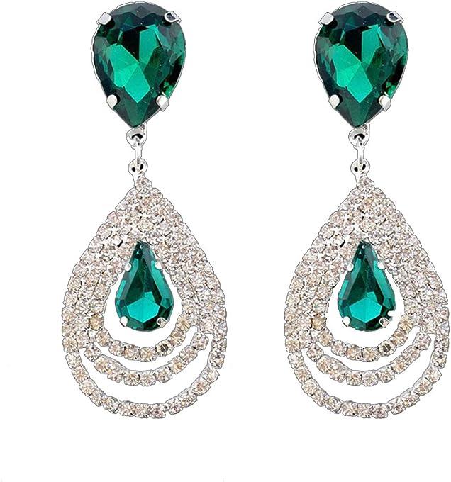Emerald Teardrop Earrings Womens Vintage Green Dangle Earrings