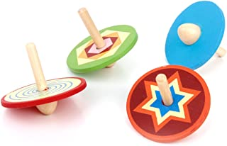 Lovoski 4pcs Classic Colored Wooden Spinning Tops Peg-Top Gyro Pre-School Kids Toys