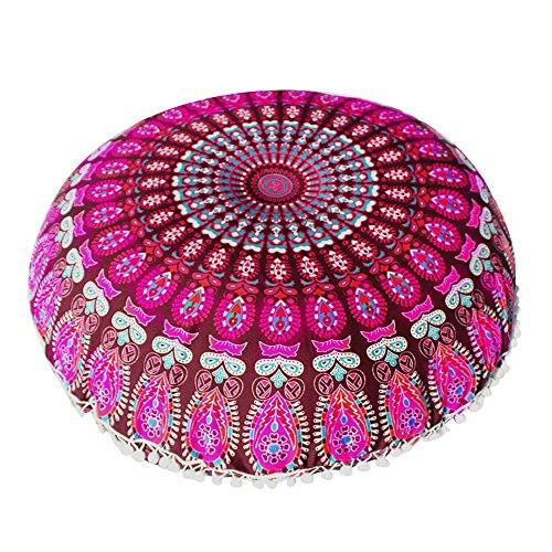 ZOUMOOL_ Pillow Cases Funda de cojín Grande y Popular con diseño de Mandala Hippie, Funda de cojín Redonda para decoración de Yoga, cojín de Suelo