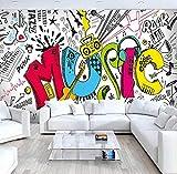 Fotomurales 3D Papel Pintado Murales Personalizado Abstracto Musical Habitación De Los Niños Graffiti Mural Grande Café Restaurante Bar Dormitorio Calles Rock Wallpaper-450Cm×311Cm